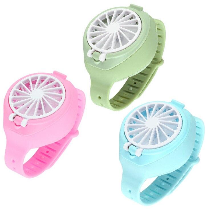 Mini reloj creativo ventilador sencillo portátil de verano recargable USB plegable bolsillo de moda pequeño ventilador de tercera marcha eléctrico