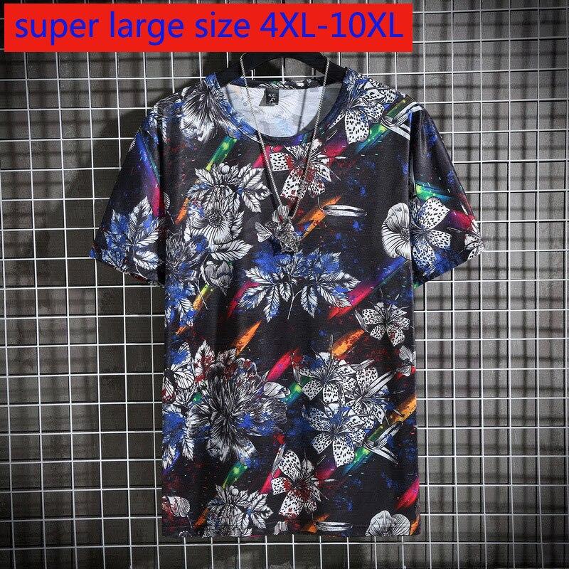 Nueva llegada de moda de verano Super grande manga corta hombres suelta moda Casual o-cuello estampado de punto camiseta de talla grande 4XL-9XL 10XL