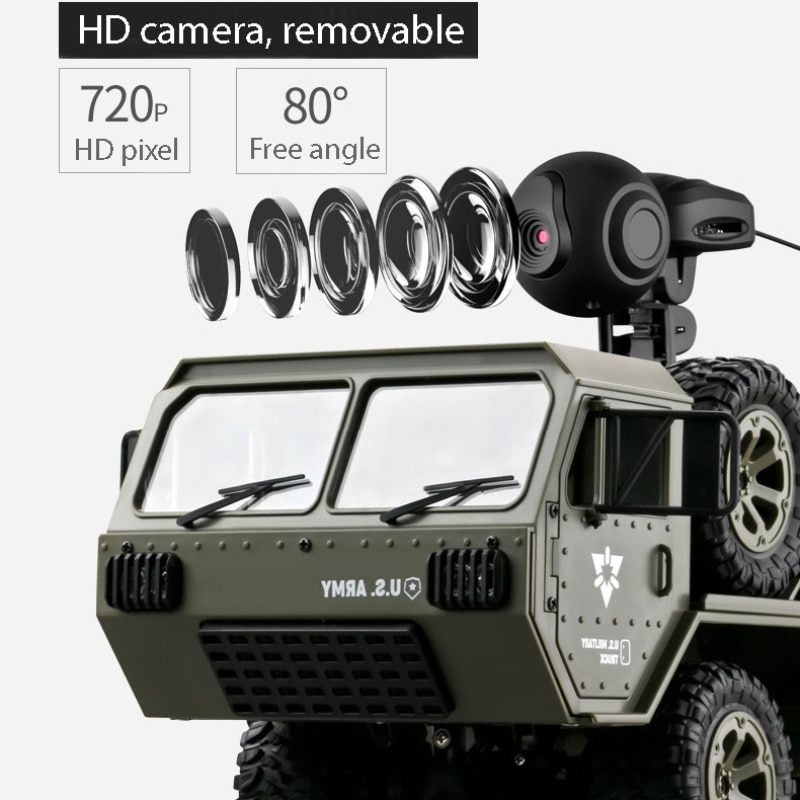 FY004 Remote Control Truck Toy Off-road RC Car Full Scale Wheeled 1:16 Vehicle Six Wheel Cross Country Simulation Military Car enlarge