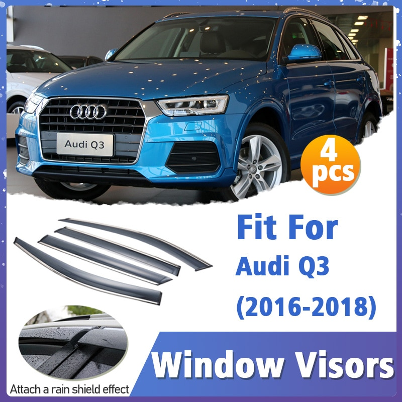 Window Visors Guard for Audi Q3 2016-2018 Visor Vent Cover Trim Awnings Shelters Protection Guard Deflector Rain Rhield 4pcs