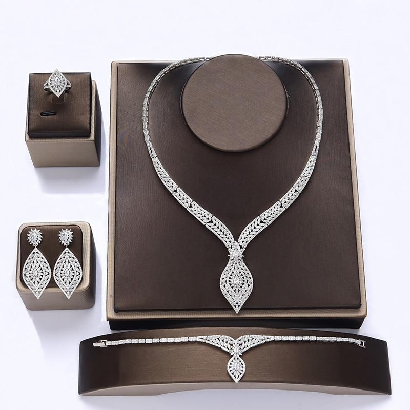 طقم مجوهرات HADIYANA هدايا زفاف أقراط قلادة سوار خاتم مجموعات فاخرة أنيقة للمرأة مجوهرات CN1108 الإكسسوارات Mujer