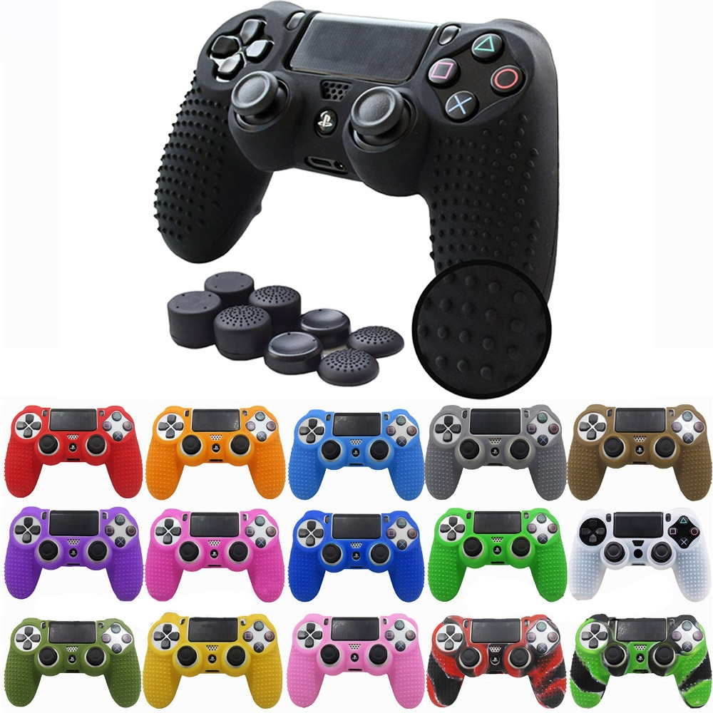 AliExpress - ZOMTOP  Anti-slip Silicone Cover Skin Case for Sony PlayStation Dualshock 4 PS4 DS4 Pro Slim Controller & Stick Grip Accessories