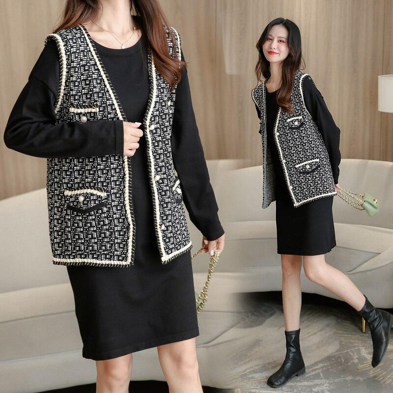 Robe deux pièces pour femmes, nouvelle collection automne et hiver 2021, gilet, veste, manches longues, Base tricotée, jupe en laine, costume
