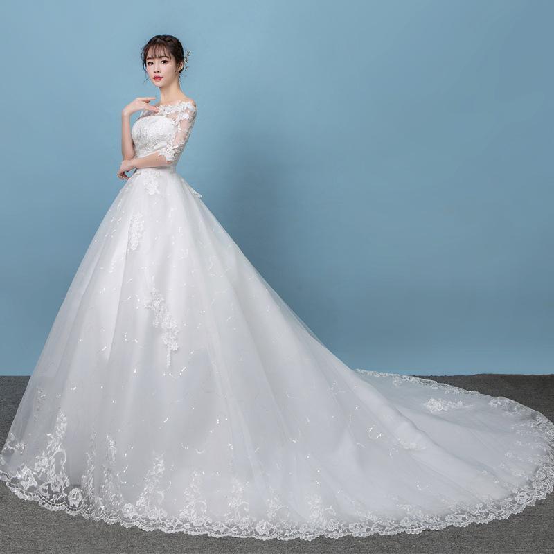 فستان زفاف نصف كم ، أكتاف عارية ، أميرة ، مجموعة جديدة 2021