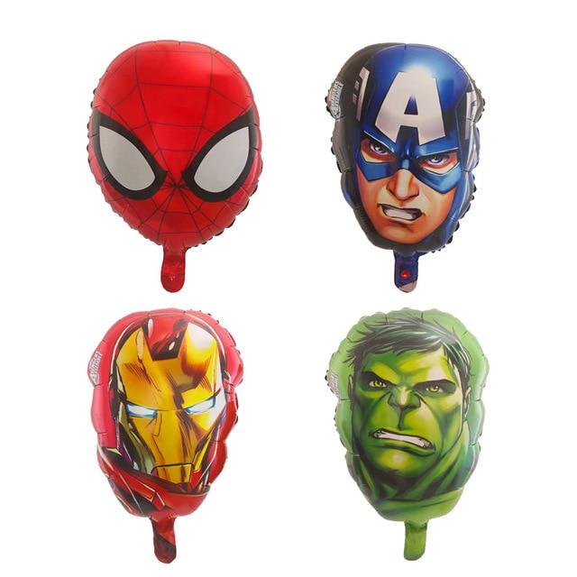 10 Uds., 18 pulgadas, Capitán América, Hulk, Araña, cabeza de hierro, hombre, globos de papel de aluminio, héroe de los vengadores, globos, juguetes de decoración para fiestas de cumpleaños