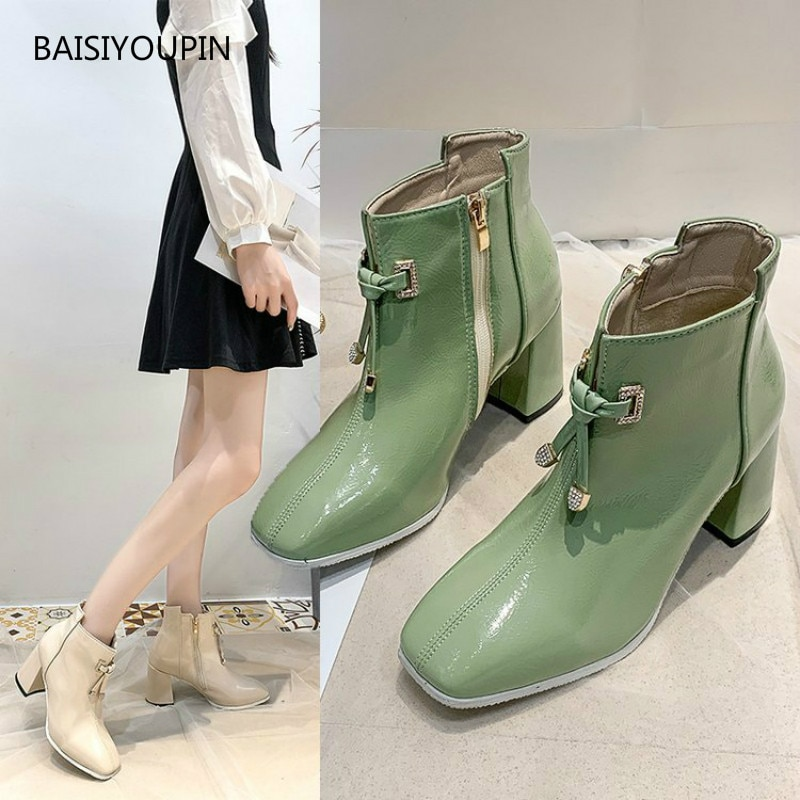 Women Pumps Boots  Solid Fashion Patent Leather Winter Warm Short Plush Zipper 7cm High Heel Casual Female Martin Booties Shoes