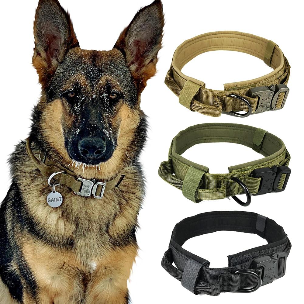 Dog Collar Nylon Adjustable Military Tactical Dog Collars Control Handle Training Pet Dog Cat Collar Pet Products
