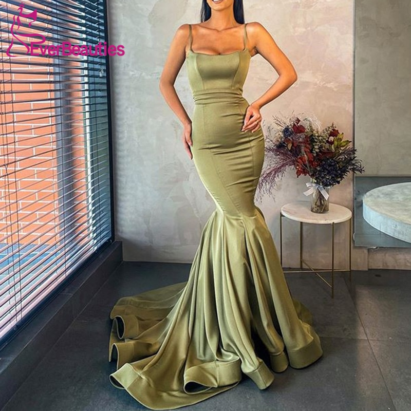 Mermaid Prom Dresses 2020 вечерние платья Satin Womens Long Spaghetti Straps Formal Evening