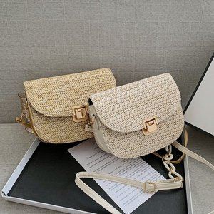 Semicircle Bamboo Small Crossbody Shoulder Bags with Handle for Women 2021 Summer Branded Luxury Beach Handbags