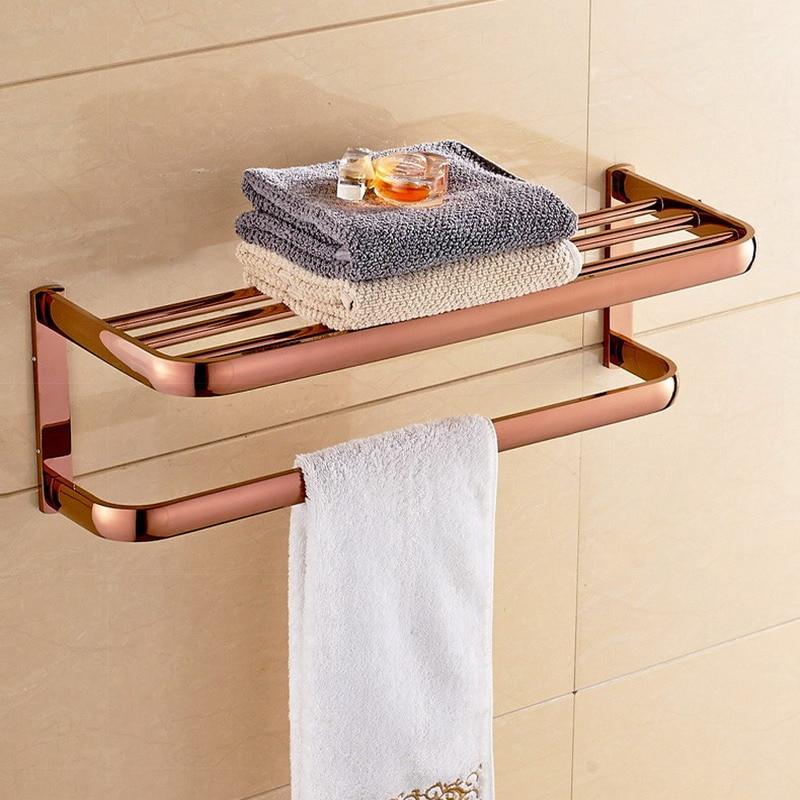 الفاخرة ارتفع الذهب مربع منشفة استحمام رف حامل منشفة الحمام مزدوجة رف مناشف اكسسوارات الحمام