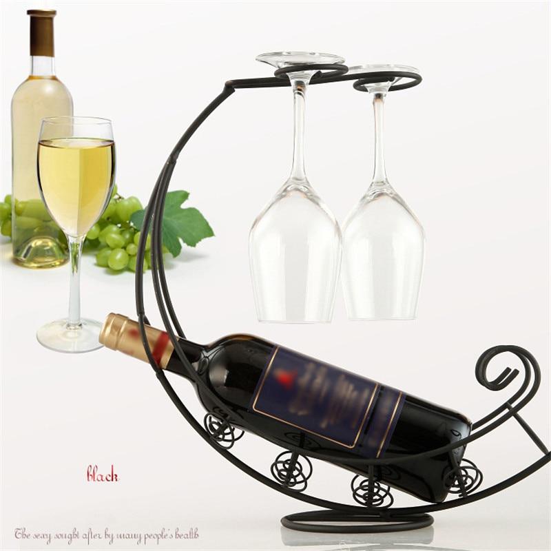 De Metal antiguo negro/de Metal de bronce de la botella de vino de Champagne de almacenamiento de titular Rack soporte de barra soporte pantalla soporte Decoración