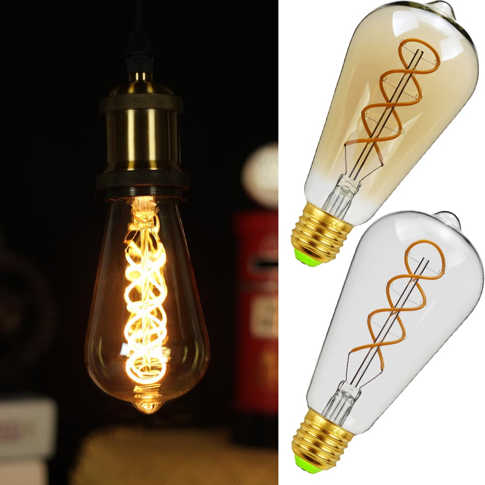 St64 led pode ser escurecido edison bulbo e27 lâmpada do vintage duplo espiral novo design macio led filamento 4 w 110 v 220 v luz comercial