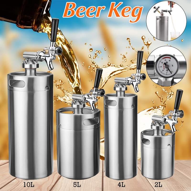 Mini barril de cerveza a presión de acero inoxidable eficiente 2/4/5/10l para sistema de dispensador de cerveza artesanal, cerveza casera