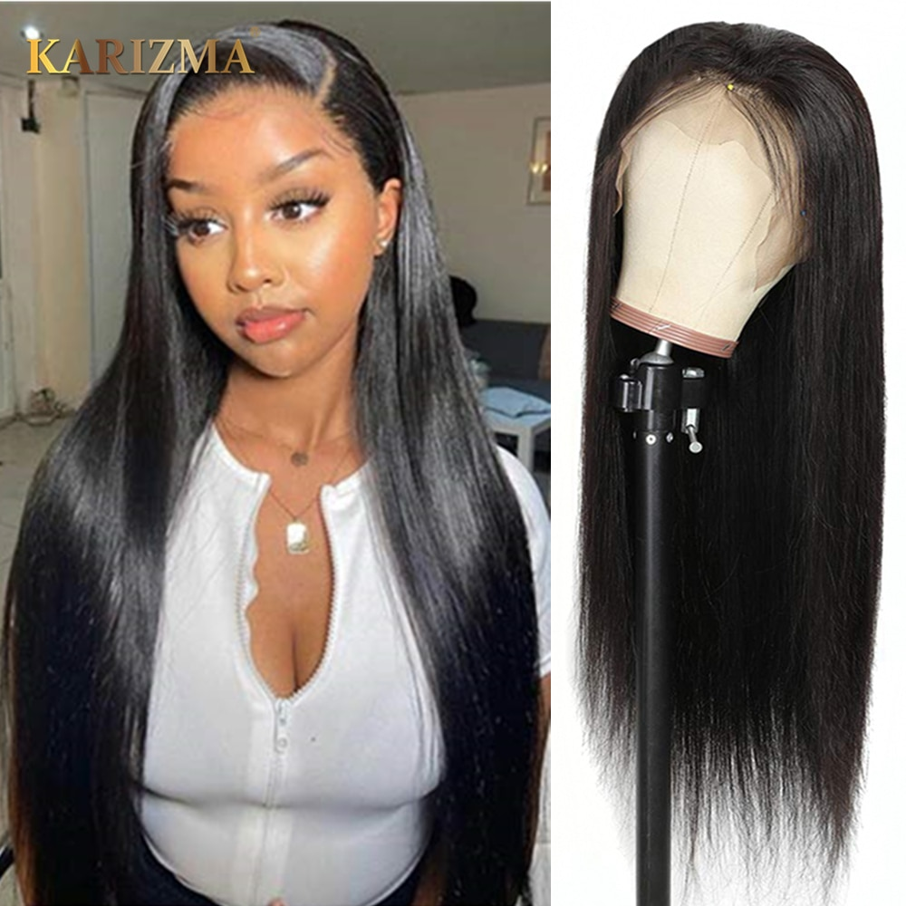 13X6 Straight Lace Front Wig 180 Density Brazilian Human Hair Pre Plucked Frontal Wigs With Baby