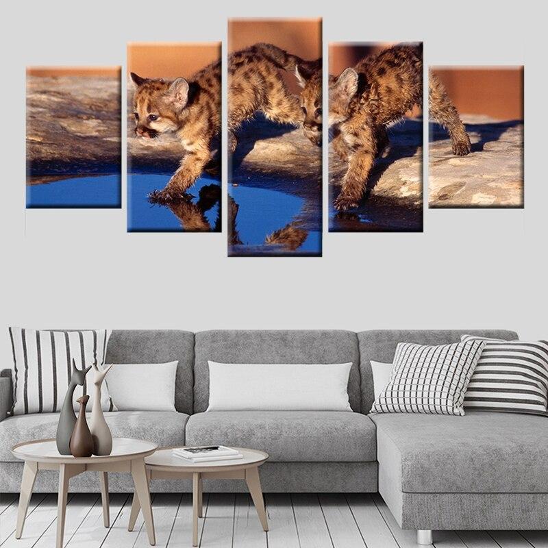 Pintura en lienzo con impresión HD, 5 paneles, 2 gatitos bonitos jugando al agua, póster, arte de pared para habitación de niños, Mural