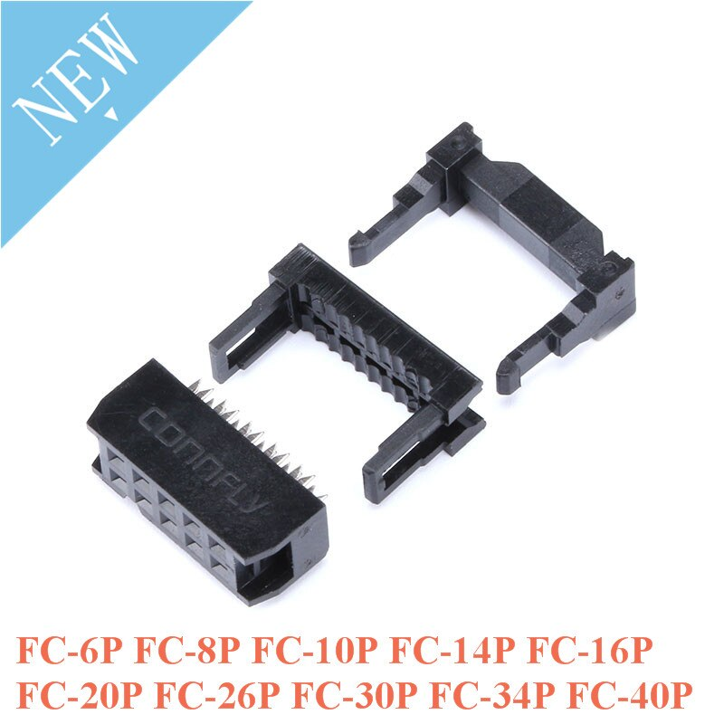 Conjunto 10 FC-6P FC-8P FC-10P FC-14P FC-16P Para FC-40P 2x5 Pin Dupla Row IDC Soquete Passo 2.54mm 2*5P 10-pin Cabo Conector IDC Soquete