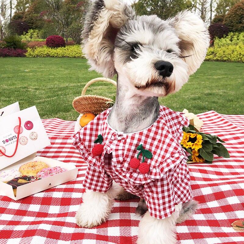 2020 New Clothes For Dogs Pet Dog Shirt Vest Puppy Small Medium Dog Clothing Cherry Dog Skirt Chihuahua Pug French Bulldog Tzu