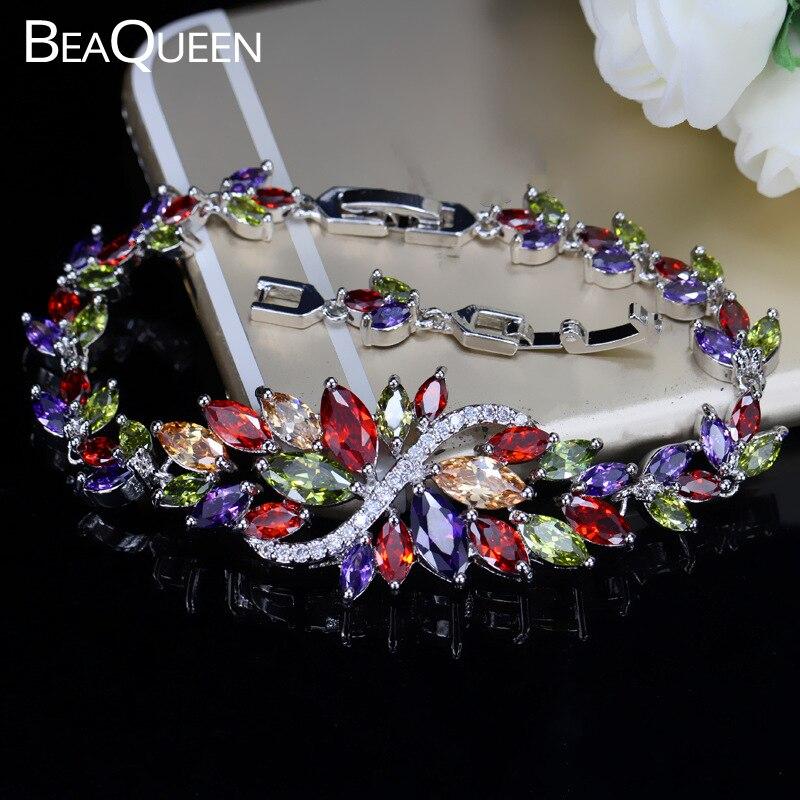 BeaQueen Стерлинговое Серебро 925 летние милые ювелирные изделия с кристаллами большой цветок кластер красочный браслет с камнями циркона для женщин B055
