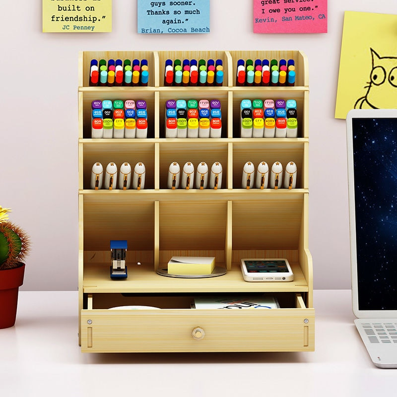 Vintage Multi-Function Wooden Desktop Marker Pen Holder Office School Storage Case Desk Pencil Accessories Organizer Stationary