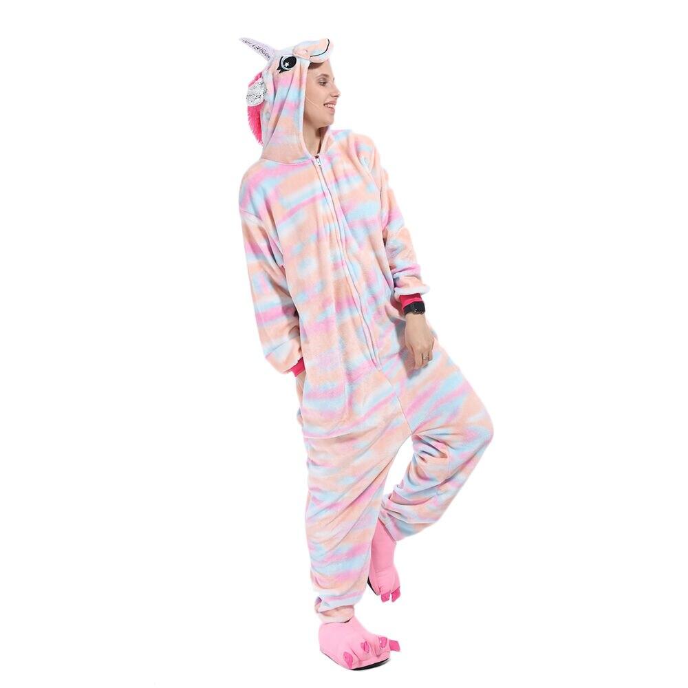 2021 New Colorful Unicorn Pajama Costume Jumpsuit Hooded Kids Onesie Children Kigurumi Women Sleepwear Nightwear