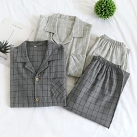 new fashion four seasons couples long sleeved cotton home service suits mens large size simple grid children spring and autumn