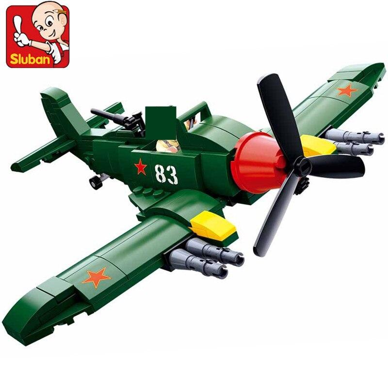 170 Uds. Militar WW2 Unión Soviética IL 2 ataque aviones Fighter conjuntos de bloques de construcción ejército DIY bloques educativos juguetes para niños