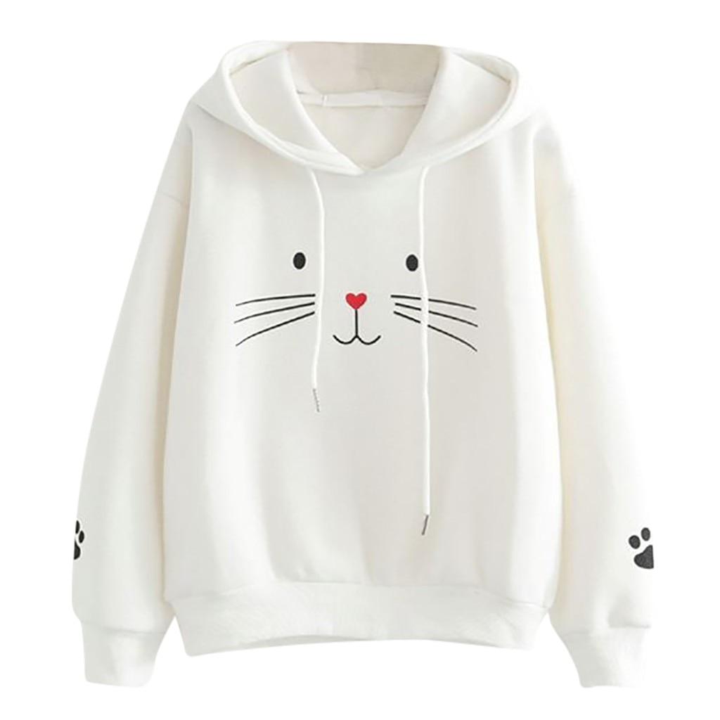 JAYCOSIN moda Otoño mujeres Casual gato impresión sudadera única elegante cómodo Chic Sudadera con capucha blusas blusa suelta