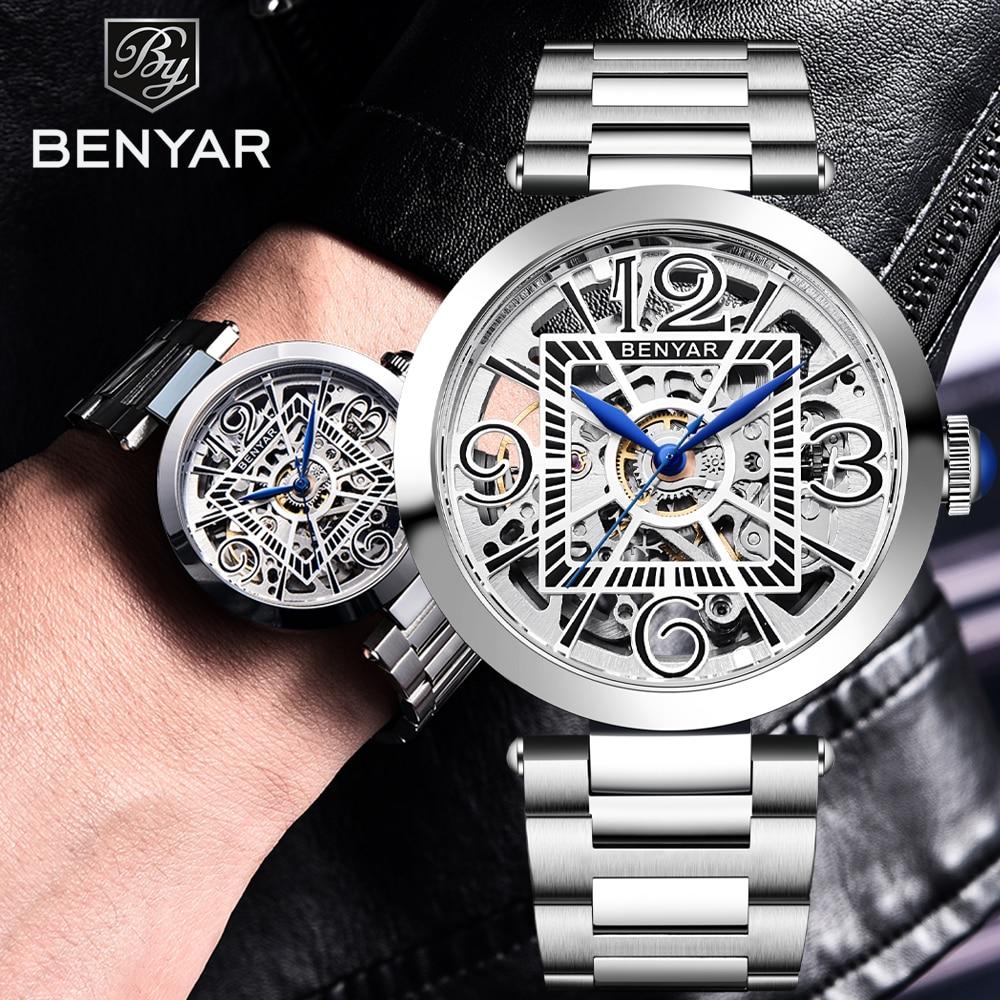 Automatic Mechanical Watches for Men Top Luxury Brand Benyar Men's Watch Man Full Stainless Steel Male Clock Waterproof Relogio