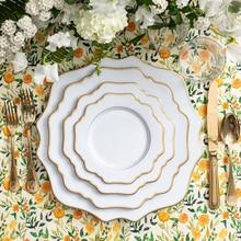 Assiettes en porcelaine blanc 13 pouces   1 pièce, irgualr en dent de scie pour mariage, incrustation en or, assiette à fleurs, vaisselle de table, plats et assiettes blancs