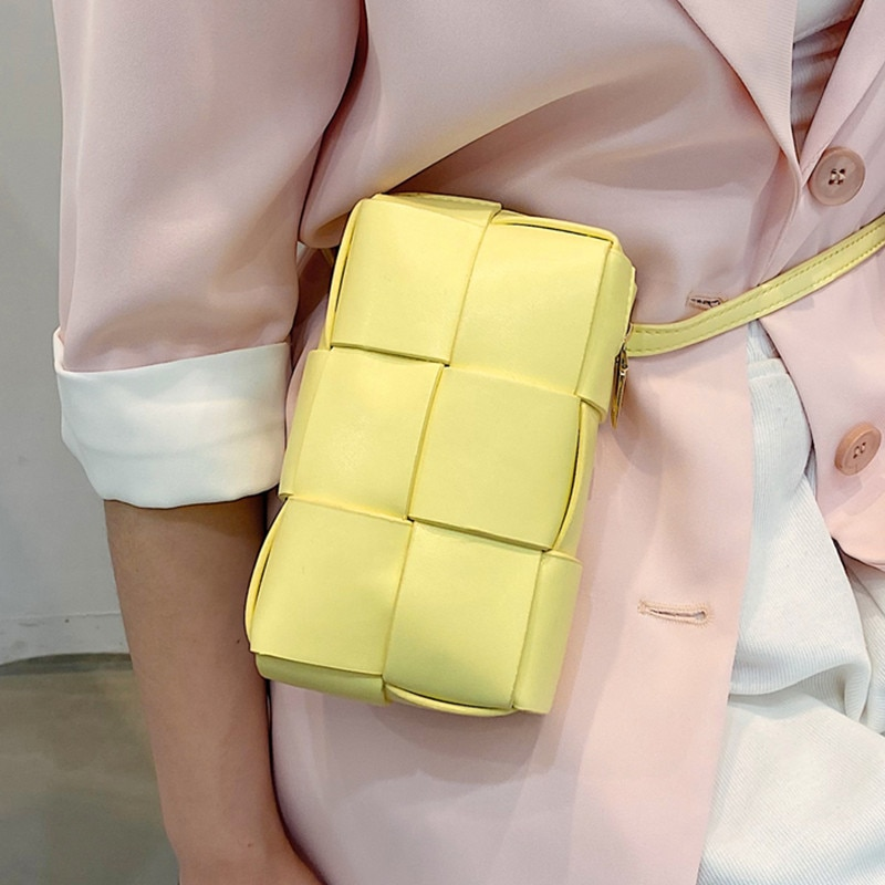 Cassette Weave Flap Bags for Women 2021 Trend Plaid Chest Bag Luxury Leather Waist Belts Bag Female Small Phone Shoulder Bag Sac