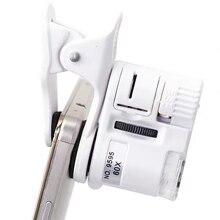 Universel 60X téléphone portable Microscope Macro lentille Zoom Micro caméra pince avec lumière LED téléphone Microscope loupe LED aussi