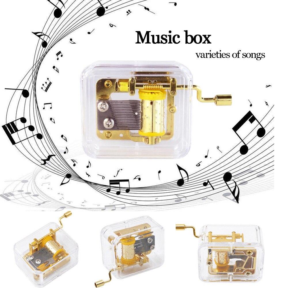 Mini Gift music box Mini Manual Movement Gurdy Music Box Acrylic Hand Crank Kids Gift Gold New 8x5.1