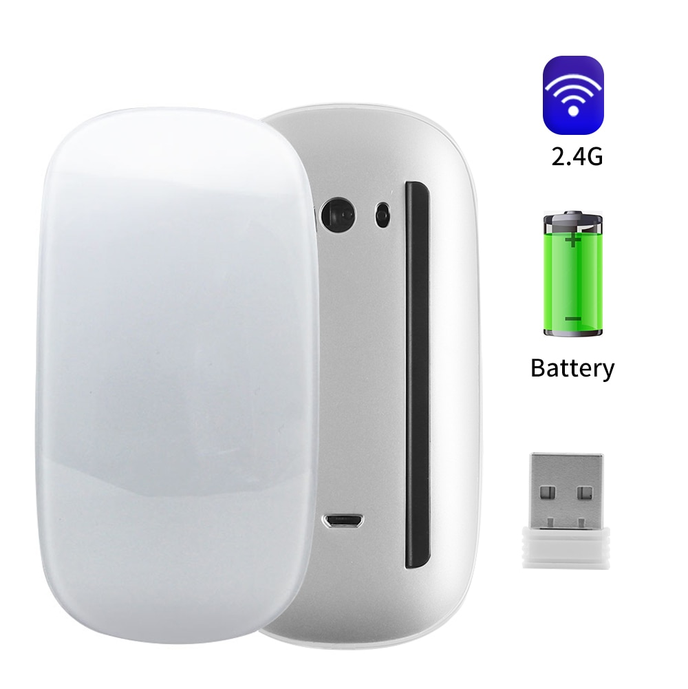 2.4Ghz Wireless Mouse Rechargeable Ultra Thin Arc Touch Magic Mouse Ergonomic Design Silent Mice Gaming For Laptop Tablet Mac
