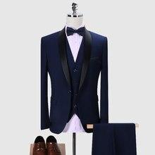 (Veste + gilet + pantalon) 2020 nouveau hommes mode Boutique décontracté affaires costume 3 pièce marié robe de mariée scène spectacle mâle costume