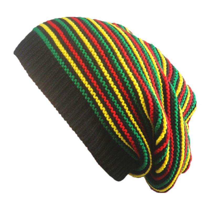 Unisex Crochet Wavy Fine Stripes Beanie Cap Rainbow Jamaica Flag Baggy Skull Hat F42F