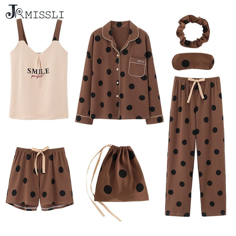 JRMISSLI 7pcs set Pyjamas Set Ladies Cotton Sweet Home Outerwear Women Sleepwear Set Home Wear Clothing Dot Print Pajama sets