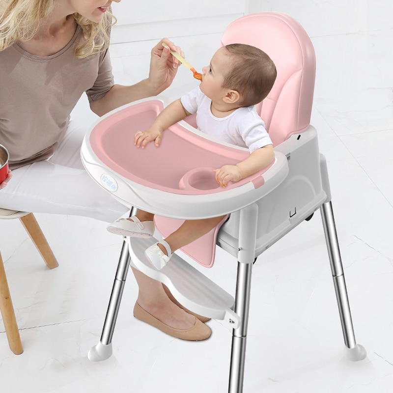 Portable Kids Dining High Chair With Free Washable Leather Seat Cover  Washable Dining Food Tray Baby Table Chair