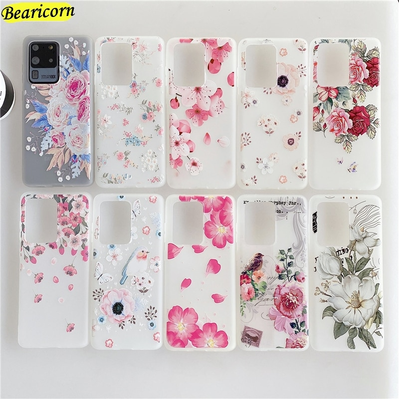 Relief Flower Phone Case For Samsung Galaxy S20 FE S10 S10e S9 S8 Note 8 9 10 20 Plus Ultra Lite 5G