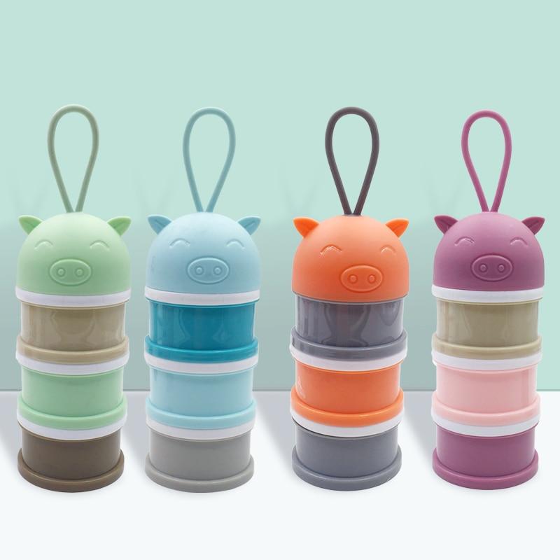 3 Layer Portable Newbon Baby Food Storage Box Cartoon Pig Essential Cereal Milk Powder Boxes Infant Kids Formula Milk Container