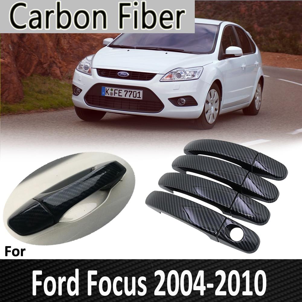 Negro de fibra de carbono para Ford Focus 2 MK2 MK2.5 2004, 2005, 2006, 2007, 2009, 2010 modelo cubierta cromada de manija de puerta accesorios de coche