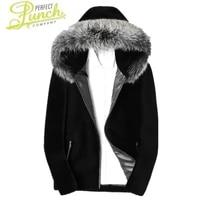 winter coat sheep shearling jacket men real fox fur collar warm outwear mens 100 wool coats chaqueta lsy088046 my1707