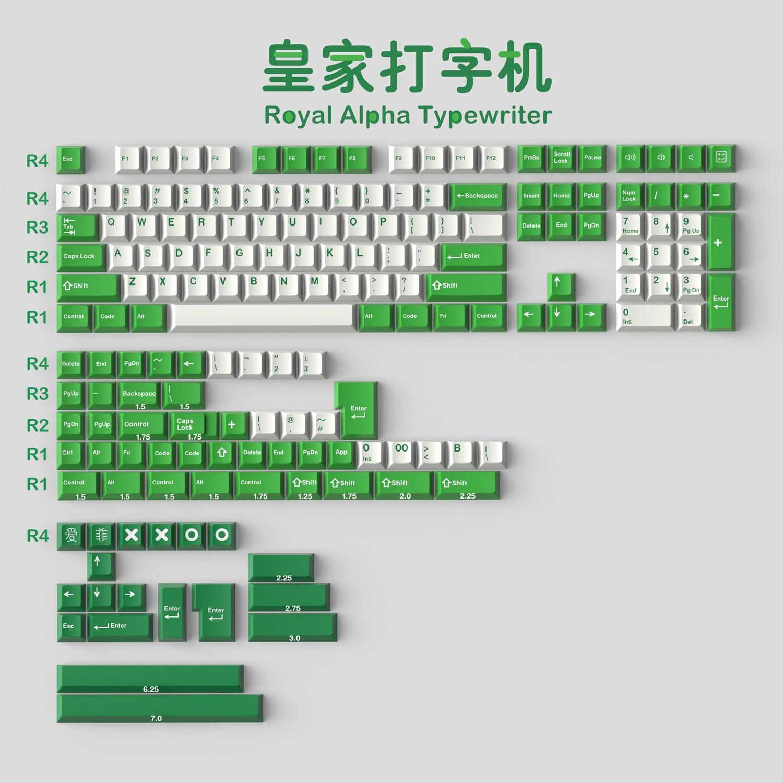 1 Set GMK الملكي ألفا آلة كاتبة المفاتيح ABS مزدوجة النار Keycap الكرز الشخصي مفتاح قبعات مع ISO Enter 7U مفتاح المسافة ل HHKB