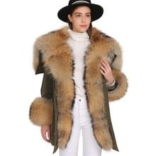Femmes luxueux grand col de fourrure de raton laveur manteau à capuche chaud vers le bas Parkas Top qualité 2019 nouvelle mode longue hiver veste de fourrure