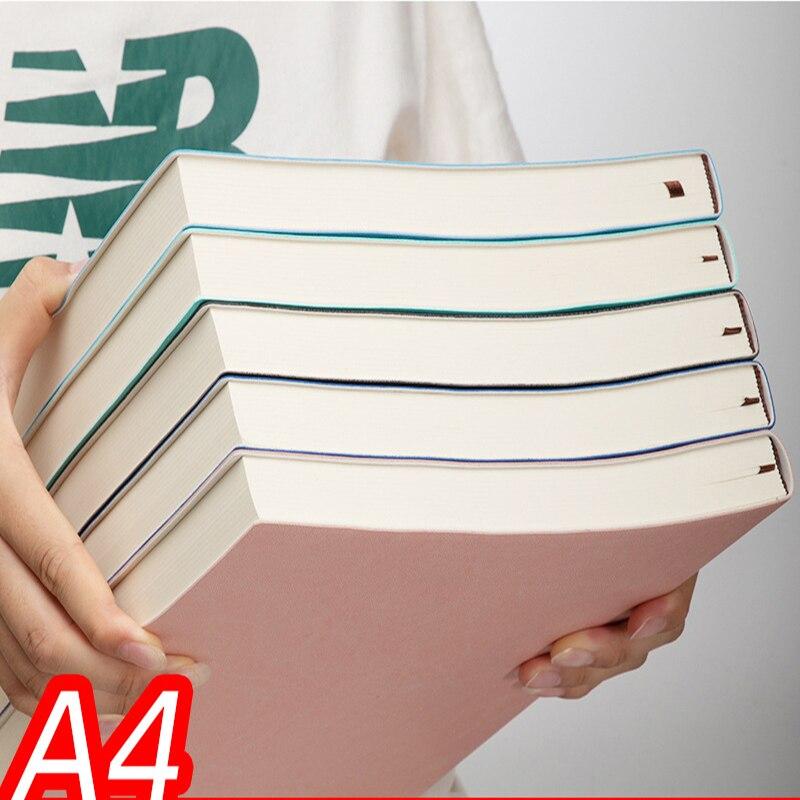 Блокнот А4 деловой супер толстый, записная книжка из искусственной кожи для креативного офиса, принадлежности для школы, 100 листов/200 страниц
