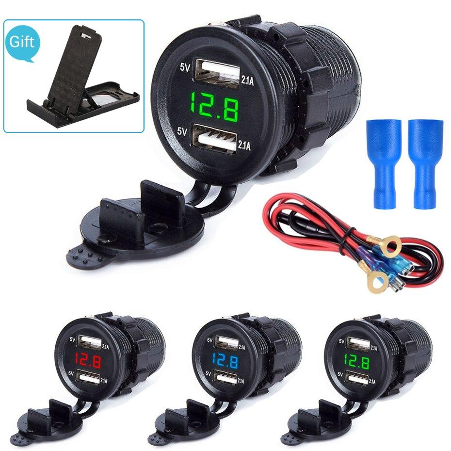 4.2A pantalla LED Dual USB cargador de coche impermeable Universal motocicleta coche camión VAN barco adaptador Socket para teléfono tableta GPS