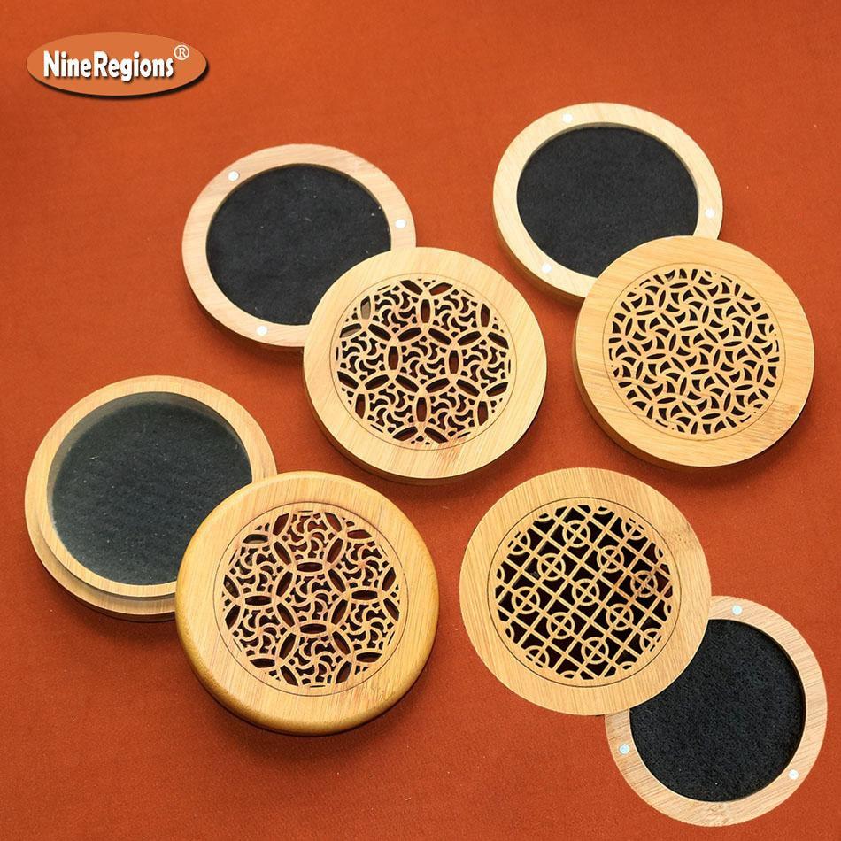 Venta al por mayor caja de bambú Natural bobina de incienso soporte quemador redondo con estera ignífugo portátil incenso incienso censer