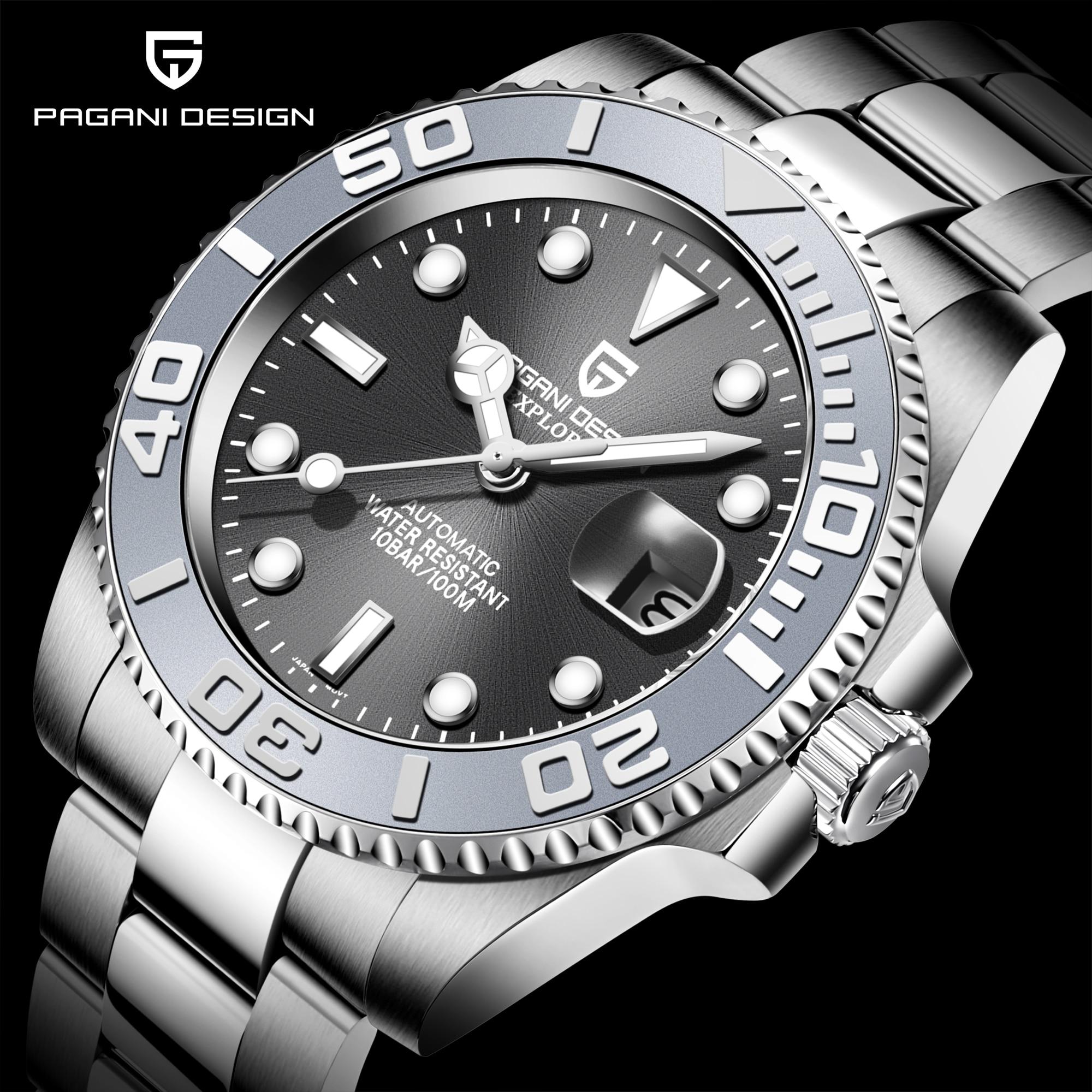 PAGANI Design-ساعة رجالية أوتوماتيكية من الياقوت ، ساعة يد ميكانيكية فاخرة من الفولاذ المقاوم للصدأ ، مقاومة للماء ، Mekaniska klockor