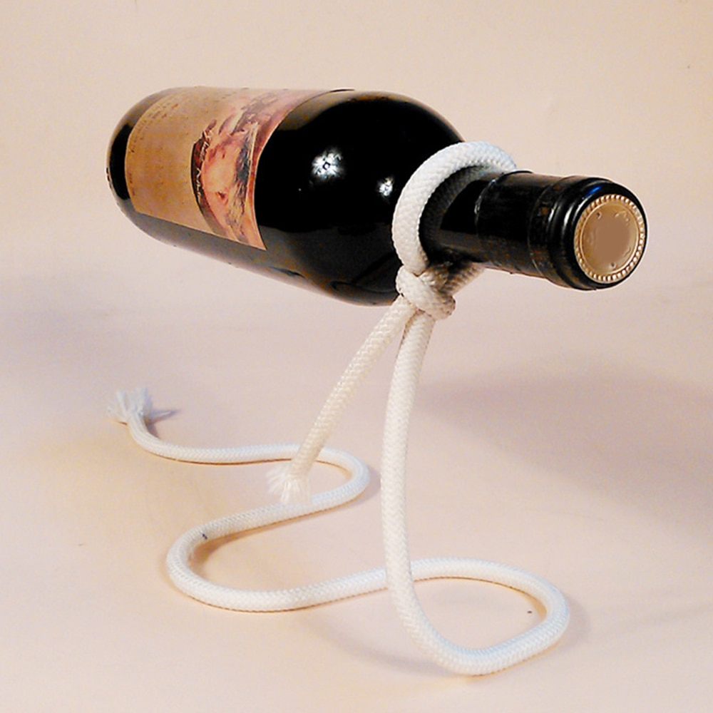 Soporte creativo para cadena de vino hecho a mano, soporte para botella de Alcohol suspendido 3D mágico, soporte para botella de vino de cuerda blanca, barra de cocina casera práctica