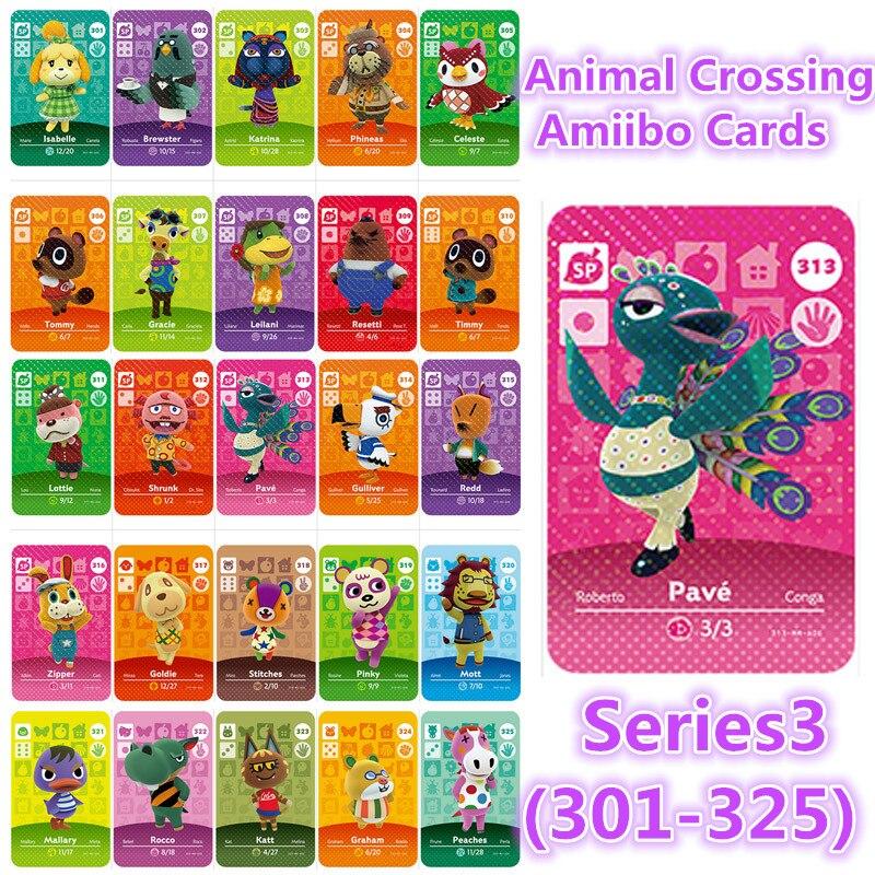 Serie 4(301 a 325), versión en inglés, Animal Crossing Card Amiibo locks, nfc Card Work para NS Games