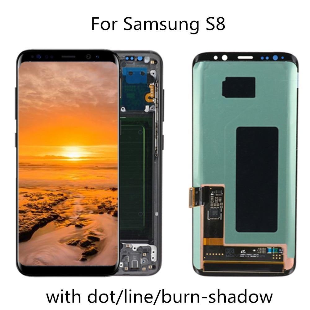 الأصلي 5.8 ''LCD لسامسونج غالاكسي S8 G950 G950F عرض شاشة تعمل باللمس محول الأرقام الجمعية مع عيب استبدال الإطار